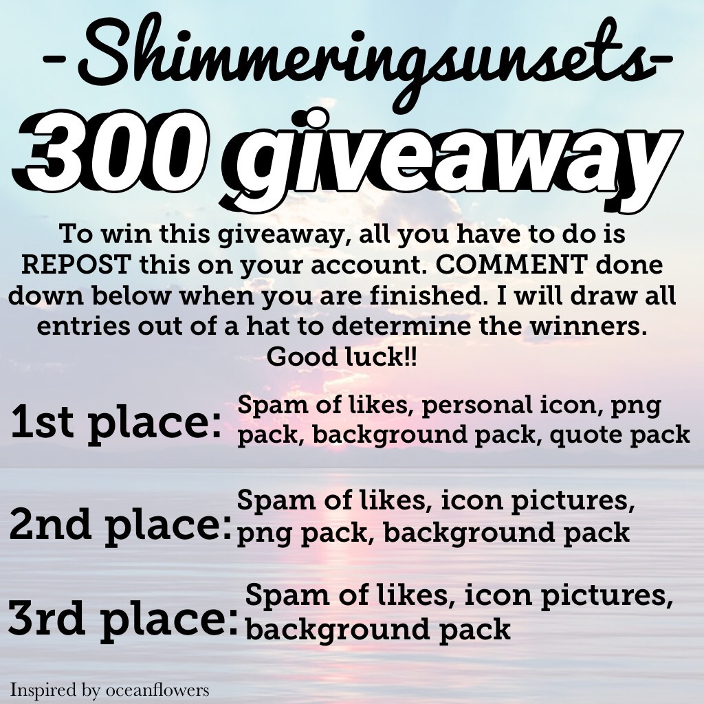Giveaway!!!! Yay!! Make sure to follow directions for a chance to win!