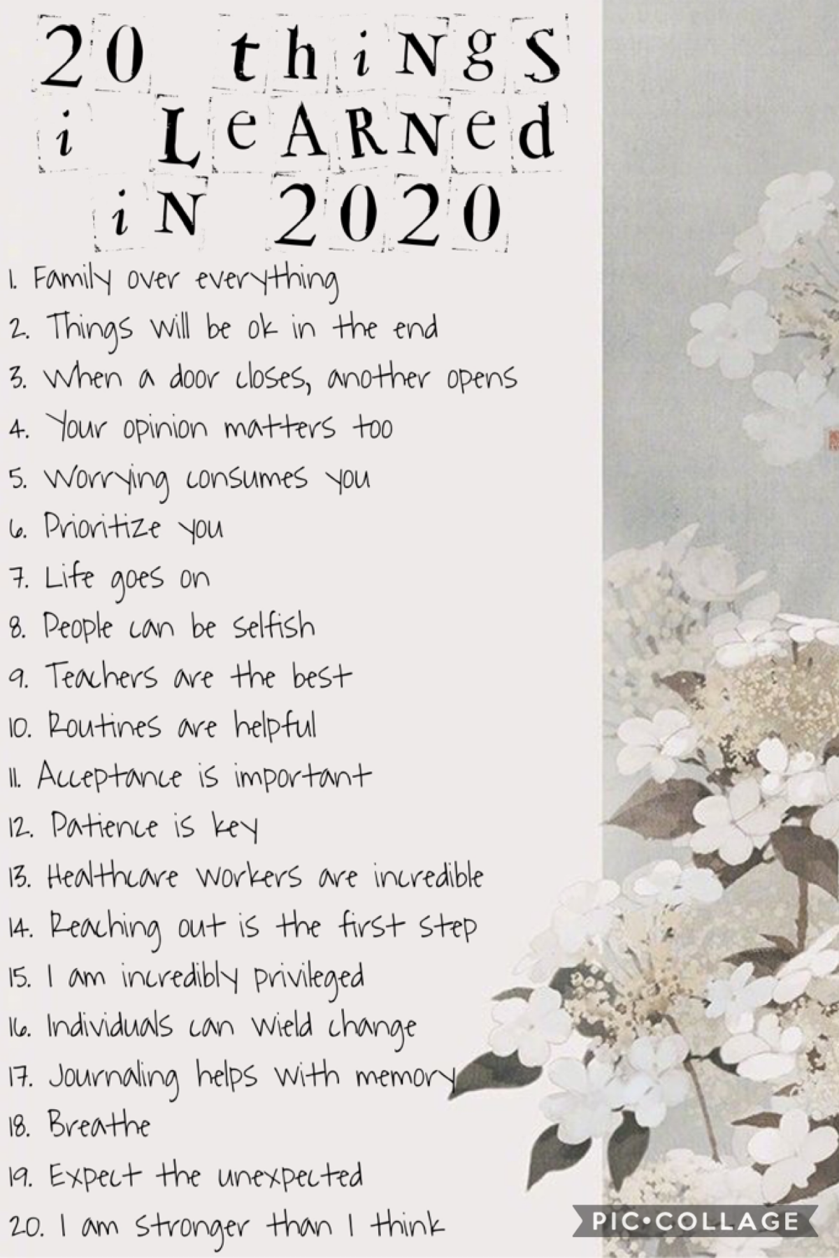 12/31/20   2020 gave me 20/20 vision. Forgot where I heard that but I most definitely agree. Little less than 12 hours to go before the new year.