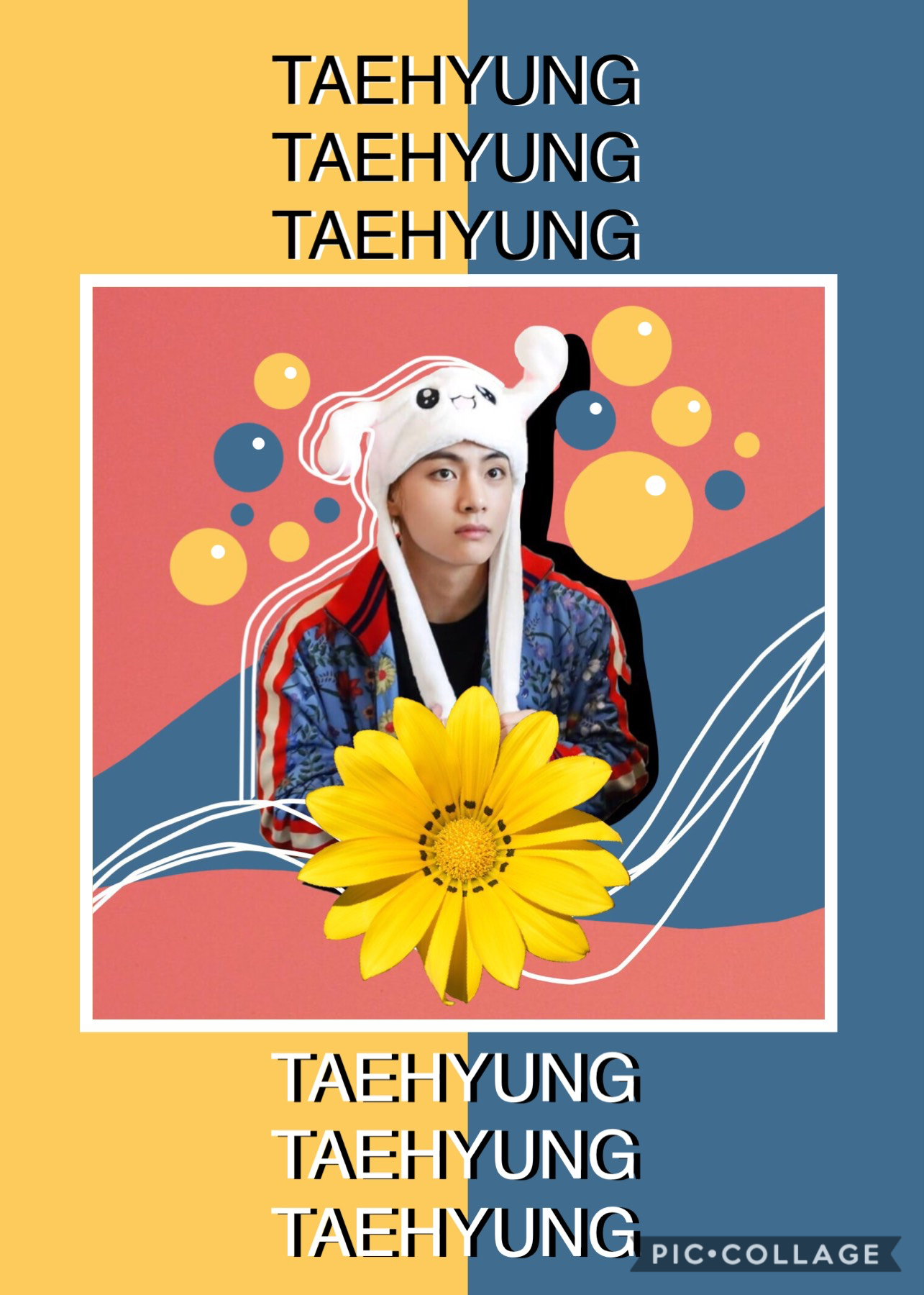 """~💛~  I was fooling around with this Tae image and I subconsciously used Tata themed colours and I was like """"WOWIE I MUST SHOW THE WORLD"""" so here   Also I'm in S P A I N right now 🇪🇸"""