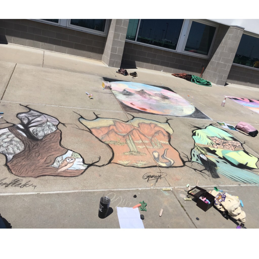 i did a chalk contest with my friends and it was so much fun. we got 2nd place