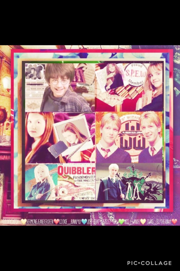❤️ TAP ❤️  This a collab with some amazing collagers! Golden_Snitch did Harry, Hermionejeaneverdeen did Hermione, Cookie_bunny10 did Ginny, I did Fred and George, Miss_Wandei did Luna, and Swag_Slytherin41 did Draco!