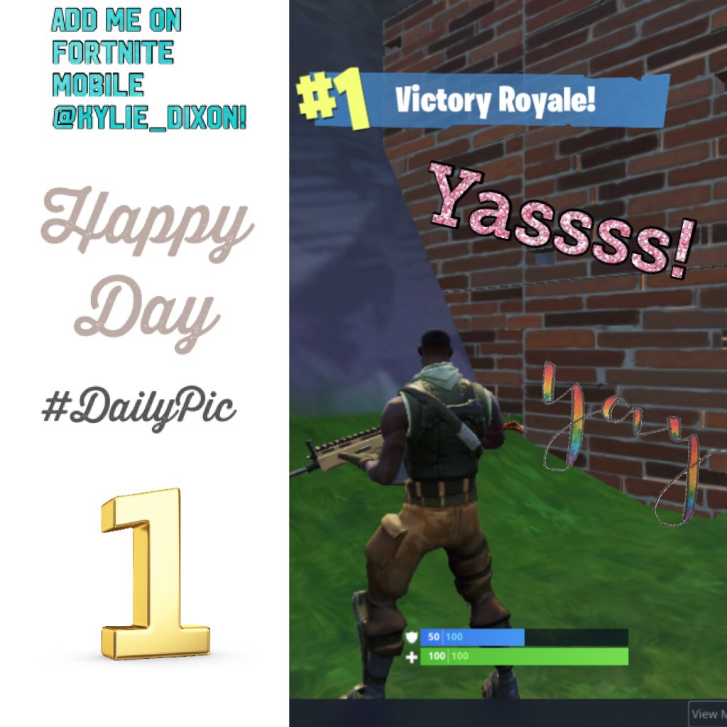 Yassss! I got 1st with my squad on Fortnite! 🤩😜🤗(Sorry I haven't posted in months!)