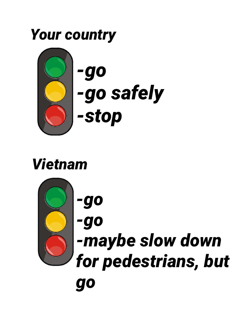 Heyo! I saw a similar post of this on ig and thought it was funny so I made my own. I don't live in Vietnam btw, but I am Vietnamese. When visiting Vietnam, I noticed to no one stops at the light, which I love haha