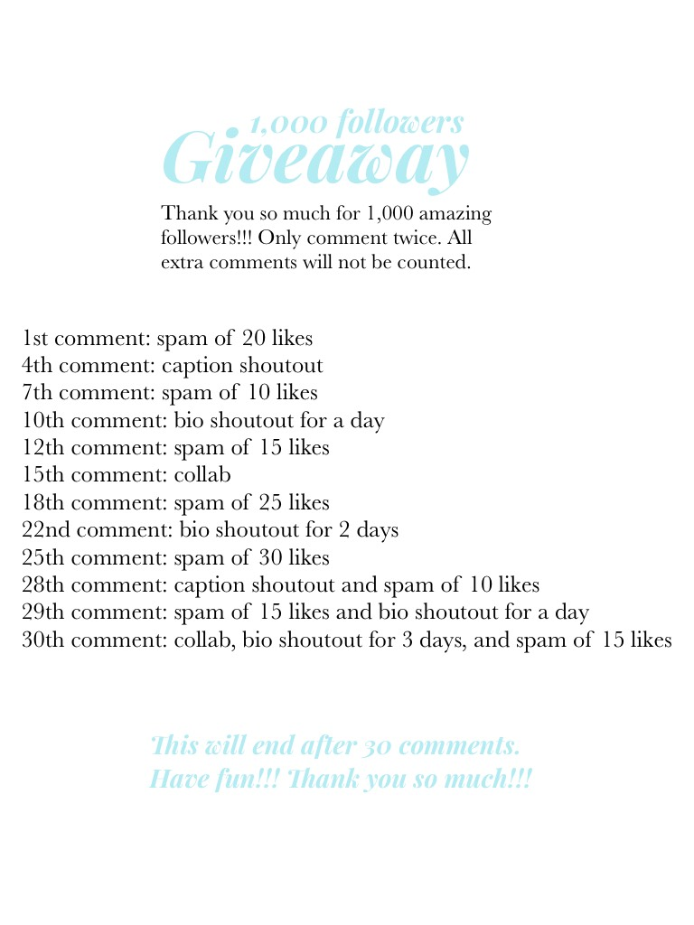 Tap!!! 1k giveaway!!!!! Thank you so much for 1k!!! You are all so amazing!!! I'm sorry that this is so late!!!!