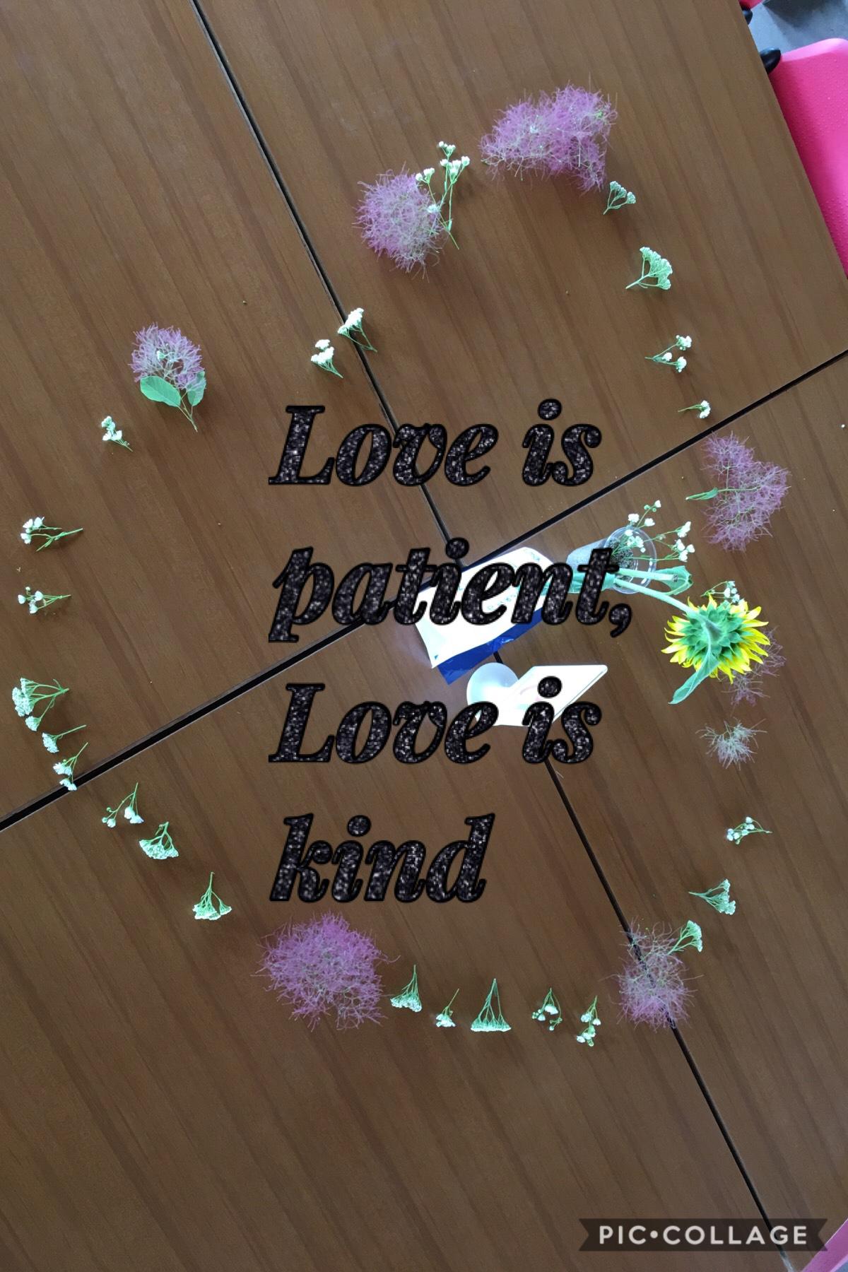 Love is patient, Love is kind. My favorite bible verse!!!