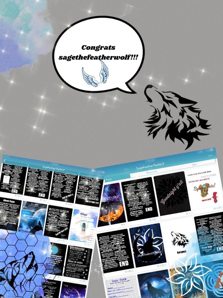 Congrats sagethefeatherwolf!!!