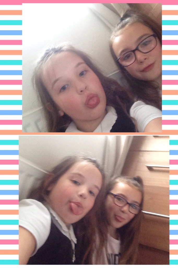 Omg ! This is cuter than I thought this is just my coulsin  Ruby the one with the glasses x and that's me the one with out the glasses xxx