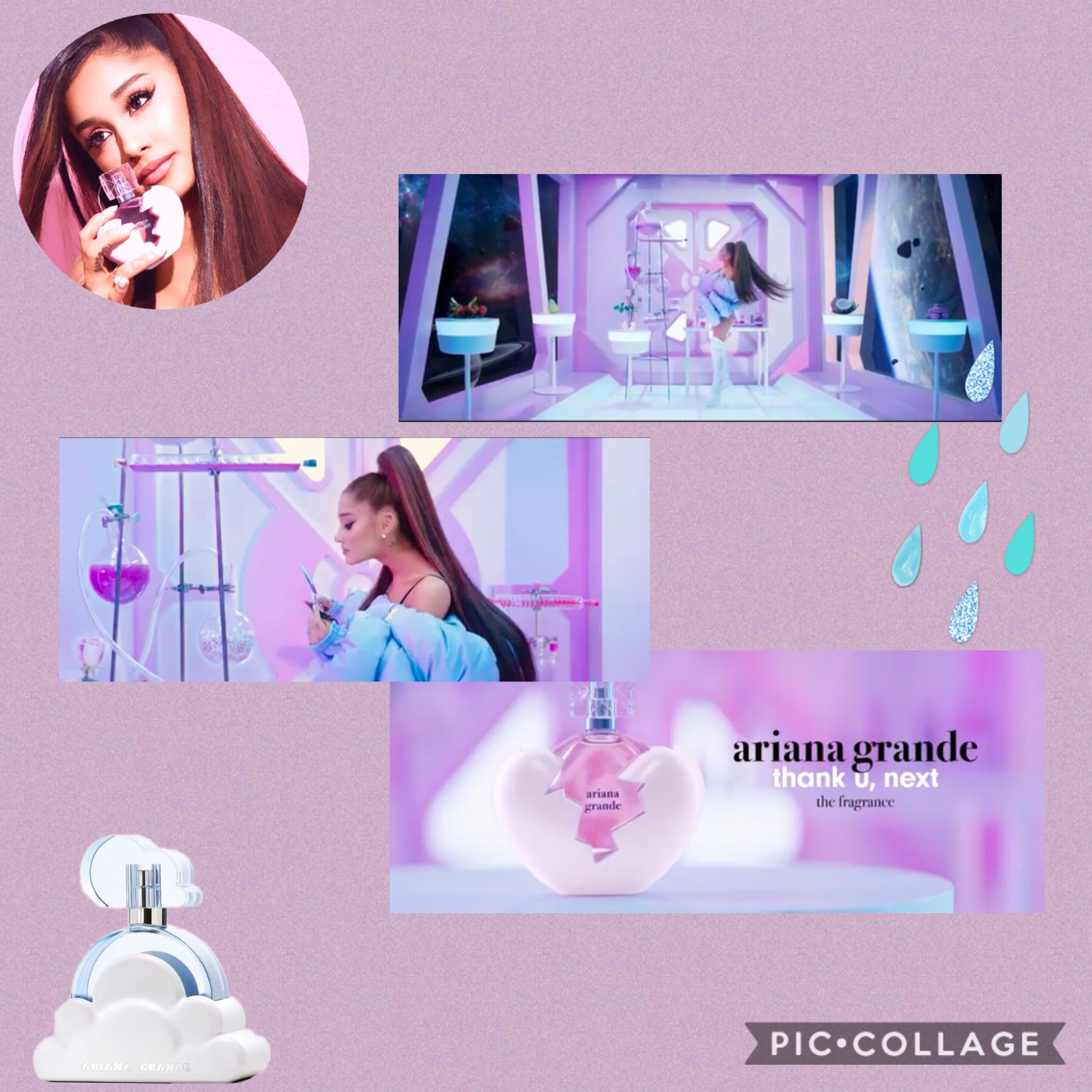 🖤 TAP🖤  Ariana Grande's new perfume 'thank u, next' is now out! 🖤💕 In the pink laboratory photo you can spot strawberry, peach, coconut, purple donuts and a small pot plant. Maybe these are some of the ingredients? 🤔