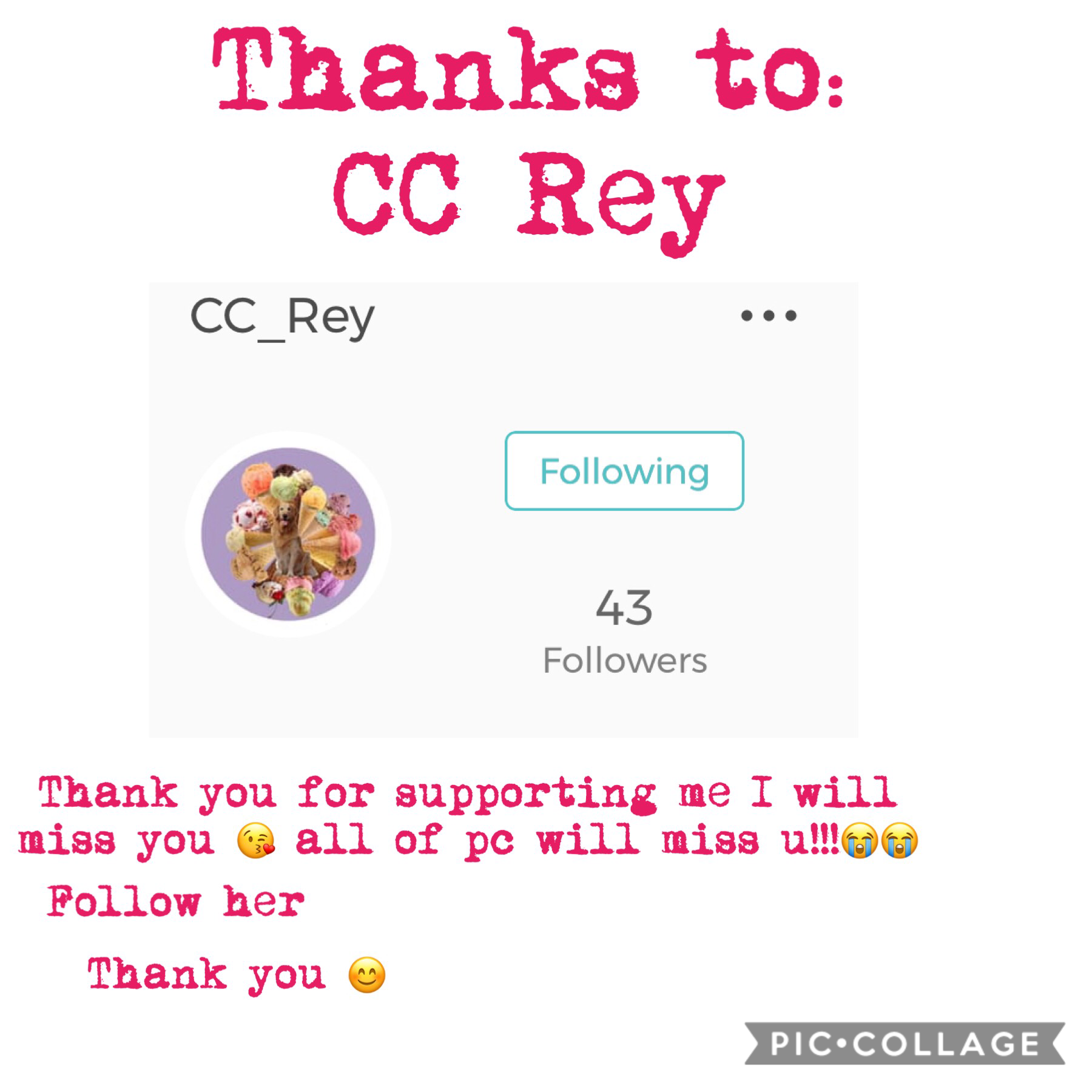 Thank you 😊 pc will miss u 😭😭 If uaeewondering why I am saying we will miss u is because she has a post saying she is leaving pc!!!