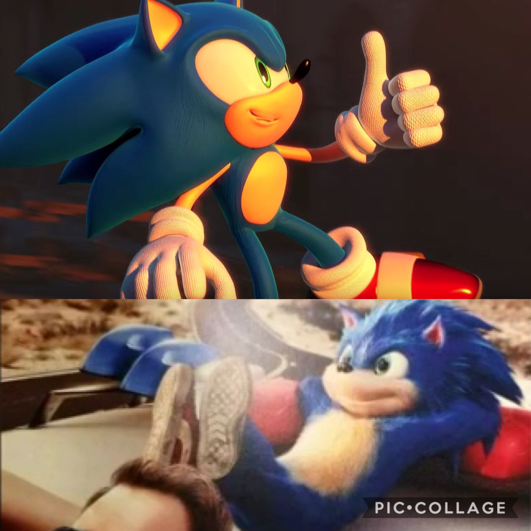 WHAT HAVE THEY DONE TO MY SON I AM NOT OKAY. Context: I'm comparing regular Sonic to his redesign for the 2019 movie. It's not okay, but I'm trying to remain optimistic. Happy early holidays😂