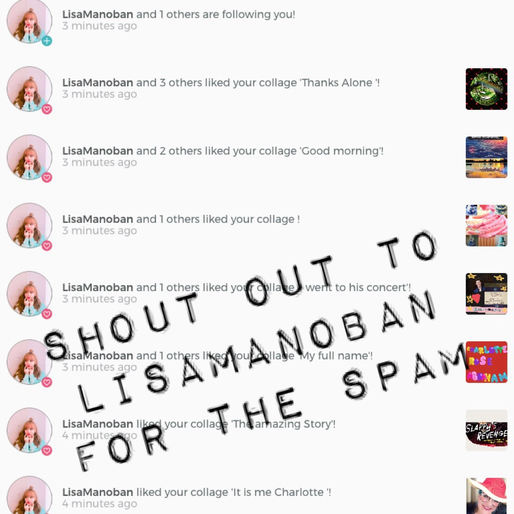 Shout out to LisaManoban for the spam