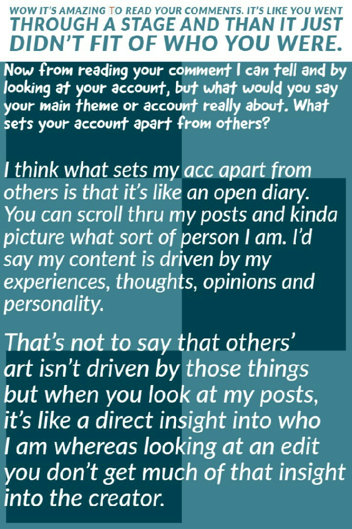 QUESTION:  what would you say your main theme or account about? what sets your account apart from others?