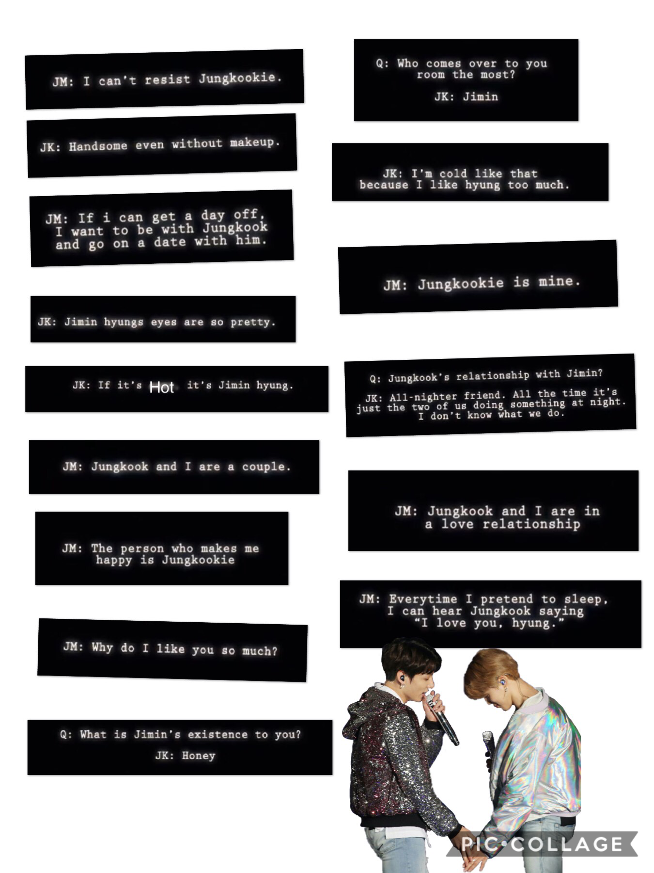 I'm so soft for jikook UwU, these are all things they have said btw. The last one is my favourite💖