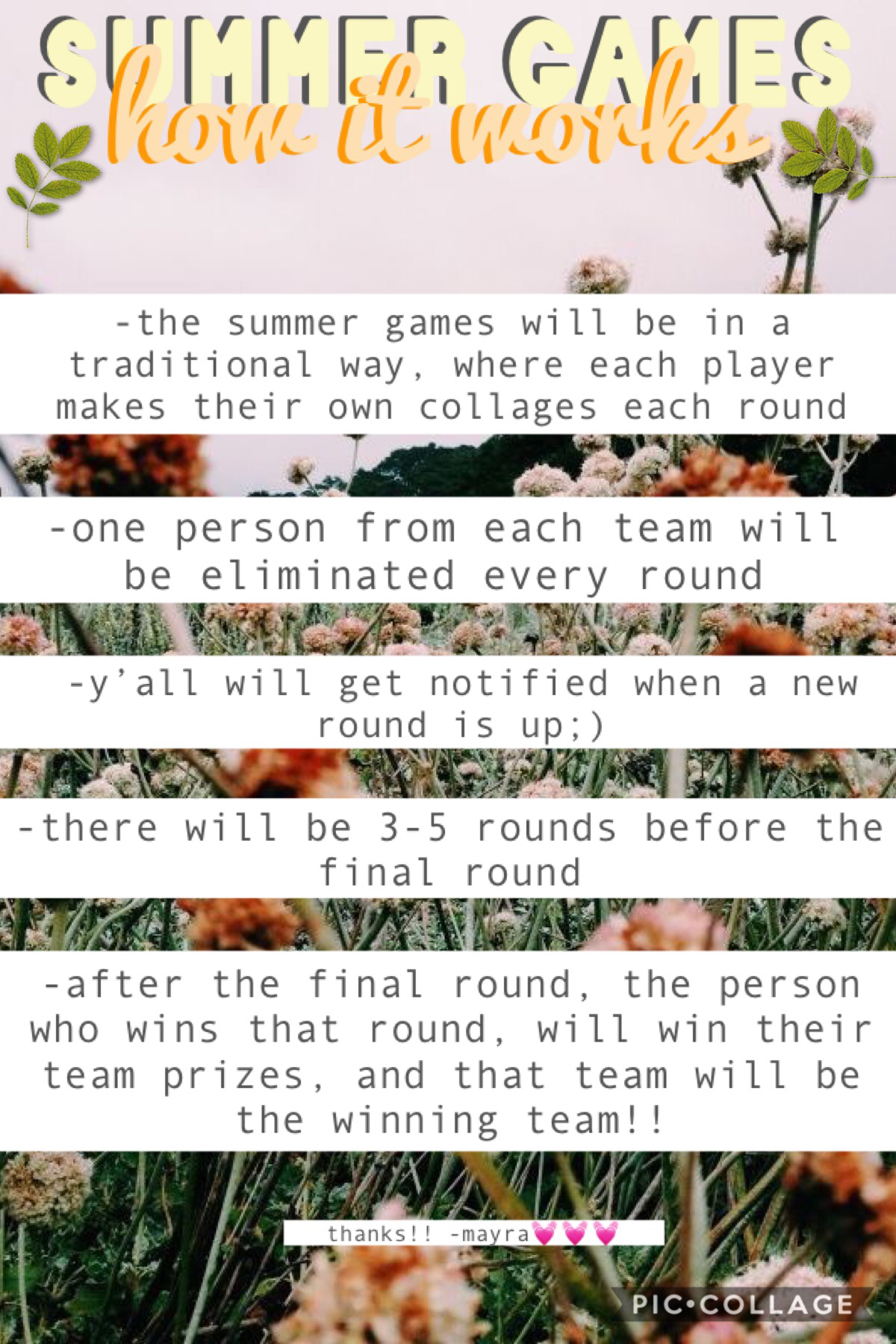 Sarah and I are running summer games! Here are the rules and how it works!!💓✨