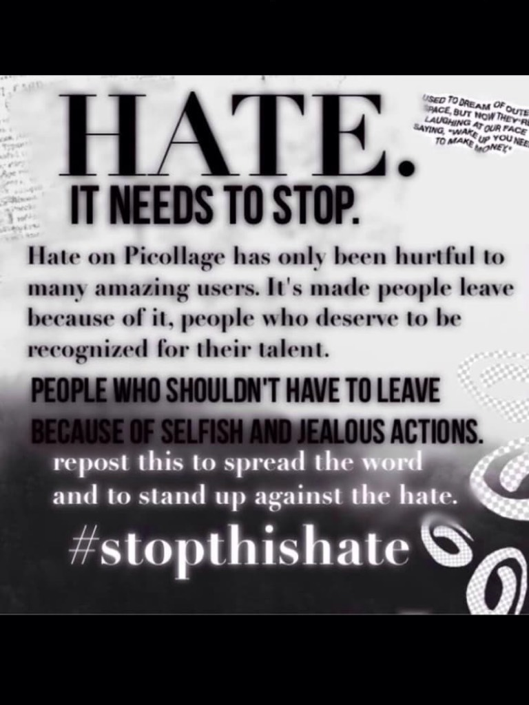 STOP THE HATE the last thing I will say...bye everyone😢