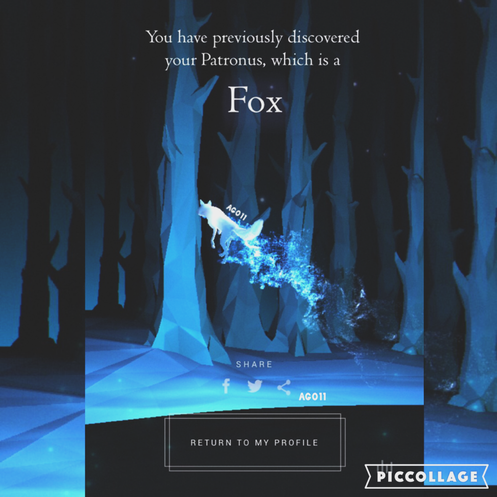 PATRONUS QUIZ IS A THING NOW!! I am so happy with my result! I feel a fox suits me perfectly! 😊What are y'all's patronus forms??✨✨💙comment belowww