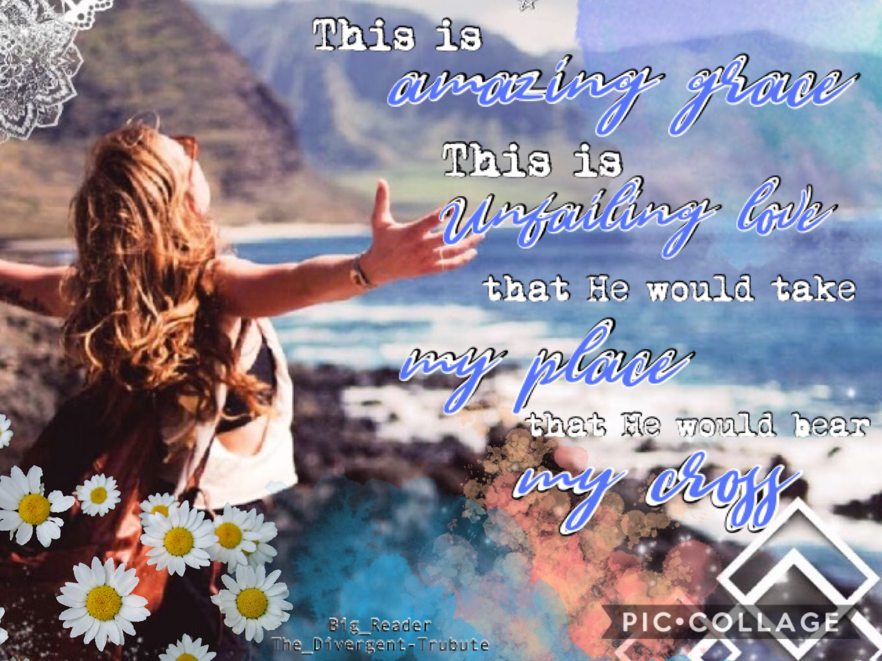 """Collab with The_Divergent-Tribute ! """"This is Amazing Grace"""" by Phil Whikham ✝️ such an amazing song! Please follow The_Divergent-Tribute! She's so talented and sweet!! She did the background and I did the text✨QOTD:Have you entered my games yet?🧐"""