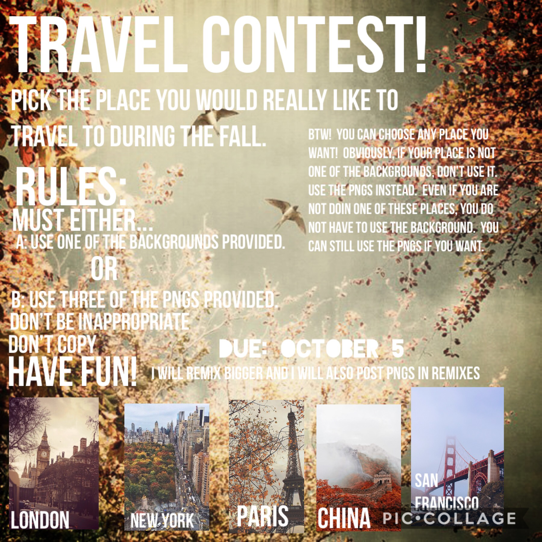 Travel contest is up!  Please enter!