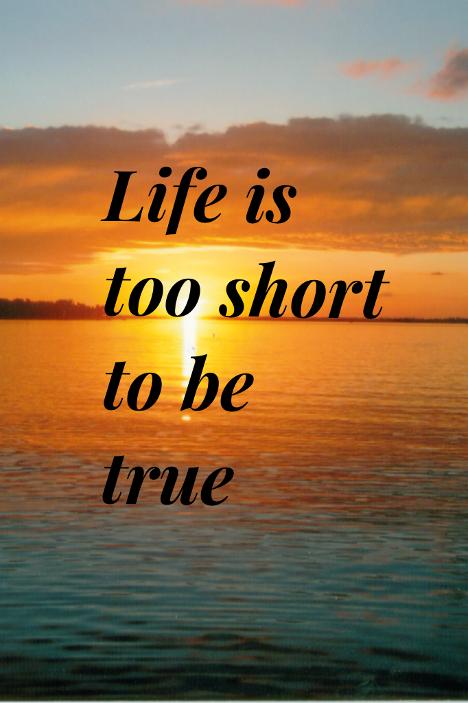 Life is too short to be true